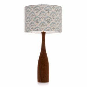 Large Elm bottle table lamp with Blue Gracie shade from Clarke and Clarke