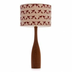 Large Elm bottle table lamp with Red birdie shade