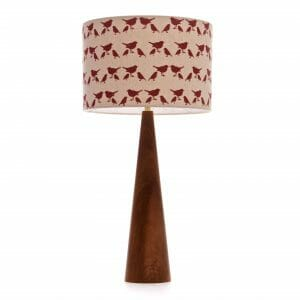 Large Elm cone table lamp with Red birdie shade