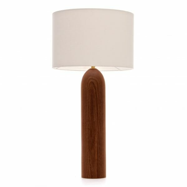 Large Elm table lamp with Cream shade, wooden table lamp