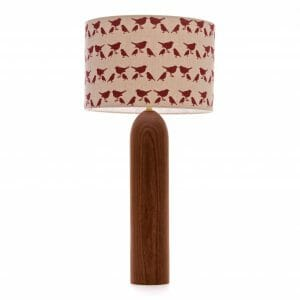 Large Elm tower table lamp with Red birdie shade