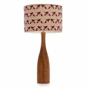 Large Oak bottle table lamp with Red birdie shade