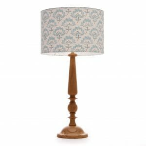 Large Oak Candlestick table lamp with Blue Gracie shade