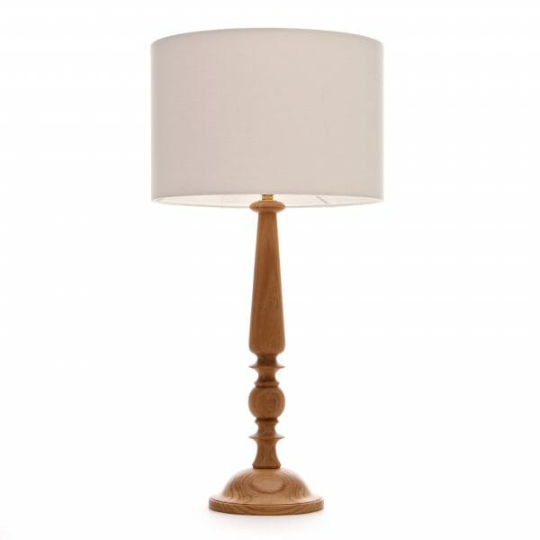 Large Oak Candlestick table lamp with Cream shade - Wooden candlestick lamp