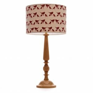 Large Oak Candlestick table lamp with Red birdie shade
