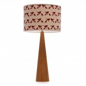 Large Oak Cone Table lamp with Red birdie shade