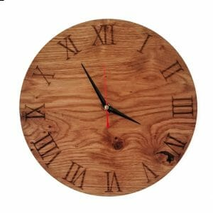 Laser engraved Oak wood clock