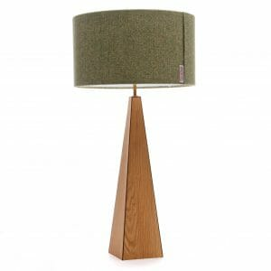 Oak and Walnut large pyramid table lamp with Green Harris tweed shade
