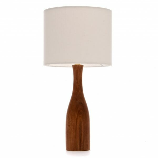 Elm bottle bedside table lamp with Cream shade