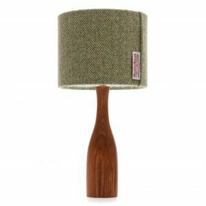 Elm bottle bedside table lamp with Green Harris tweed shade