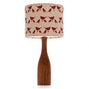 Elm bottle bedside table lamp with Red birdie shade shade
