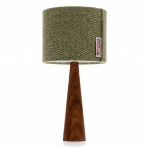 Elm cone bedside table lamp with Green Harris tweed shade