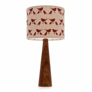 Elm cone bedside table lamp with Red birdie shade