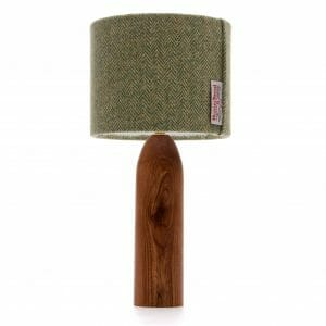 Elm tower bedside table lamp with Green Harris Tweed shade