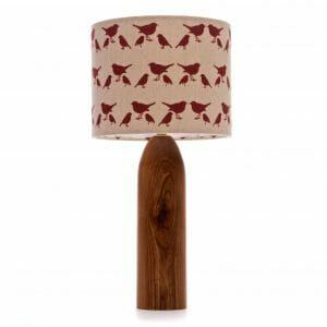 Elm tower bedside table lamp with Red birdie shade