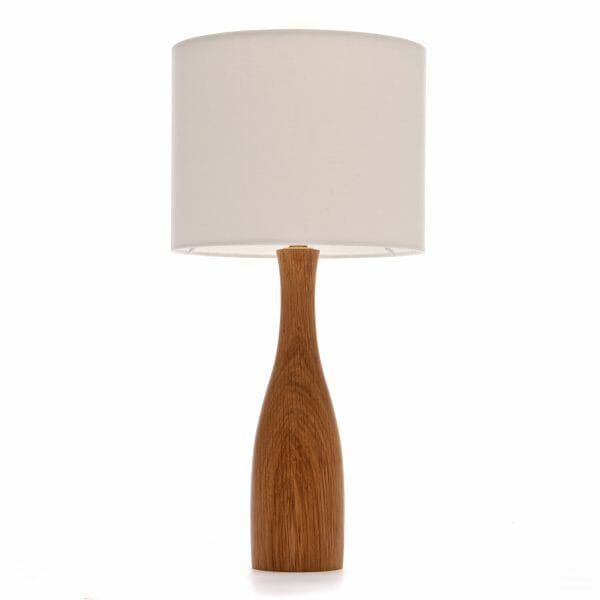Oak bottle bedside table lamp with Cream shade