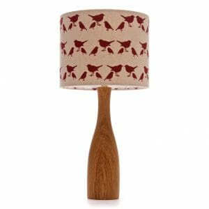 Oak bottle bedside table lamp with Red birdie shade
