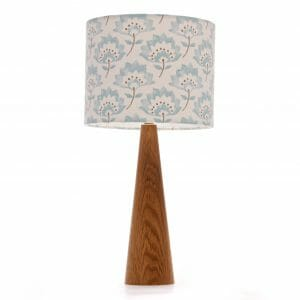 Oak cone bedside table lamp with Blue Gracie Clarke and Clarke shade