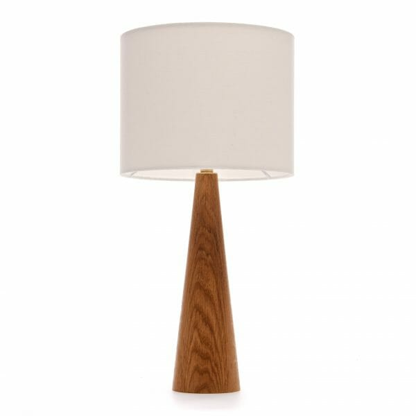 Oak cone bedside table lamp with cream shade - wooden bedside table lamp
