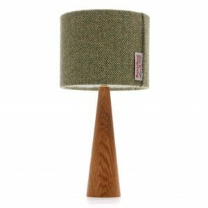 Oak cone bedside table lamp with Harris tweed shade