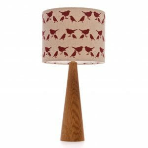 Oak cone bedside table lamp with Red birdie shade