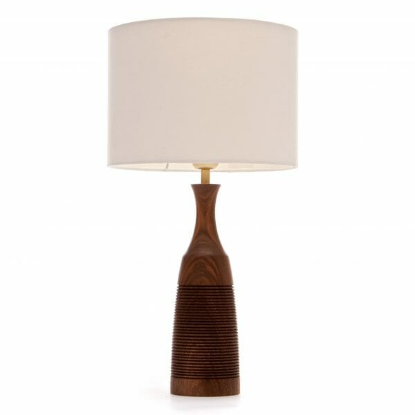 Walnut Groove bedside table lamp with Cream shade