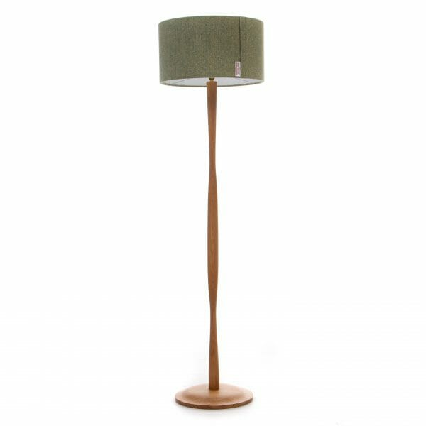 Modern Oak floor lamp with Green Harris Tweed shade, wooden floor lamp
