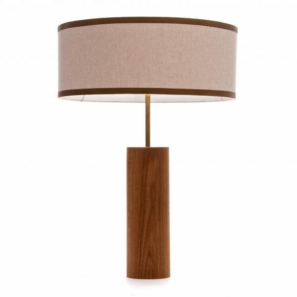 Wooden table lamp, Zambezi Brass and Oak wood table lamp