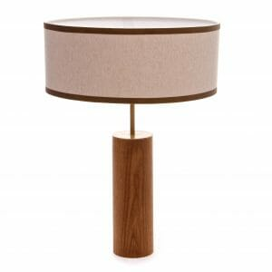 Luxury Zambezi Brass and Oak table lamp high shot