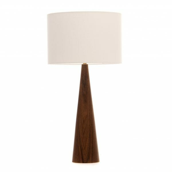 Walnut cone table lamp with cream shade
