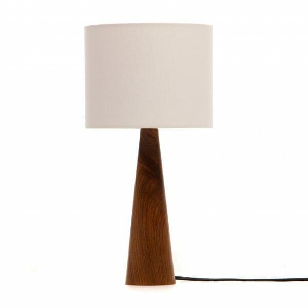 Walnut bedside lamp with cream shade