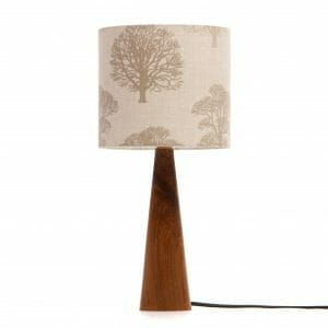 Walnut cone edside table lamp with trees shade