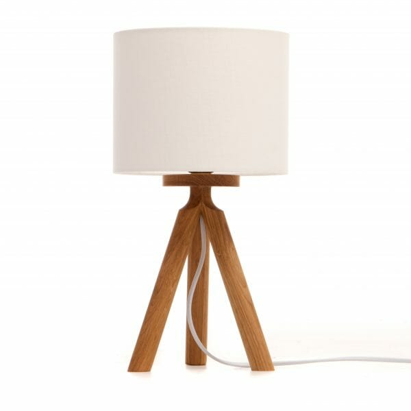 Oak Tripod bedside table lamp with cream shade