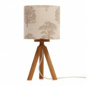 Oak Tripod bedside table lamp with tree shade