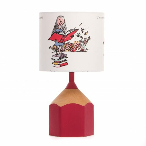 Pink pencil lamp with matilda shade
