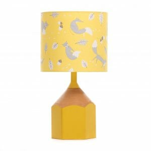 Yellow pencil lamp with Yellow fox lampshade