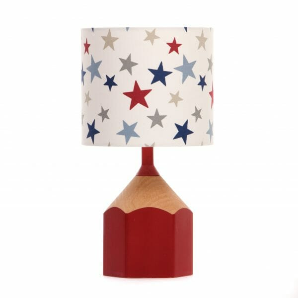 Red pencil lamp with multicolour star lampshade