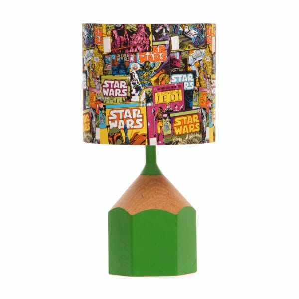 Green pencil lamp with lampshade made with Star Wars comic fabric