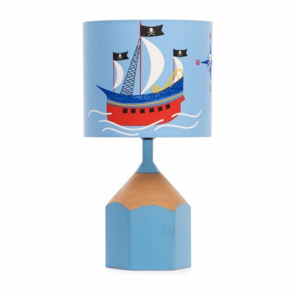 Light blue pencil lamp with Pirate lampshade