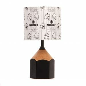 Black pencil lamp with lampshade made using Star Wars Storm Trooper fabric