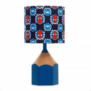 Blue pencil lamp with Spiderman lampshade
