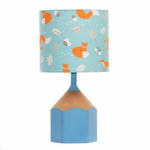 Sky blue pencil lamp with blue fox lampshade