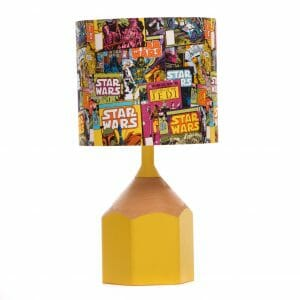 Yellow pencil lamp with lampshade made from Star Wars Comic fabric