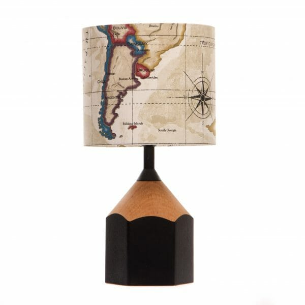 Black pencil lamp with Map of the world lampshade