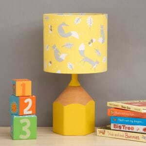 Yellow pencil lamp childs bedroom scene
