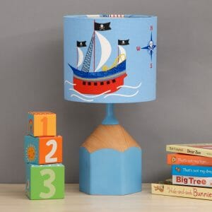 Sky blue pencil lamp childs bedroom scene