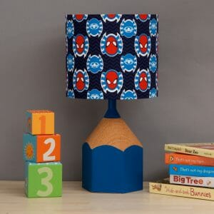 Blue pencil lamp childs bedroom scene