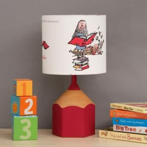 Pink pencil lamp childs bedroom scene
