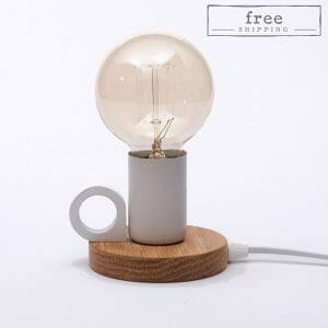 Small exposed bulb table lamp